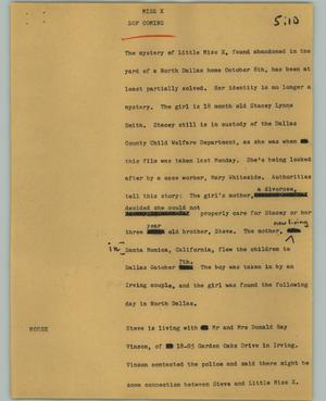 Primary view of object titled '[News Script: Miss X]'.