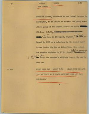Primary view of object titled '[News Script: Israel]'.