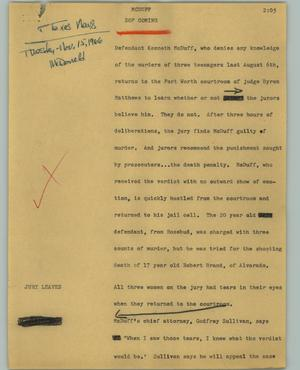 Primary view of object titled '[News Script: McDuff]'.
