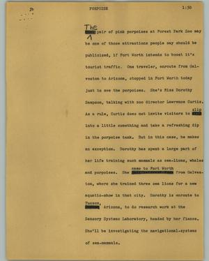 Primary view of object titled '[News Script: Porpoise]'.