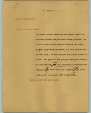 Primary view of object titled '[News Script: Roy Hofheinz]'.