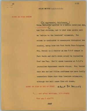 Primary view of object titled '[News Script: Helen Bottel]'.