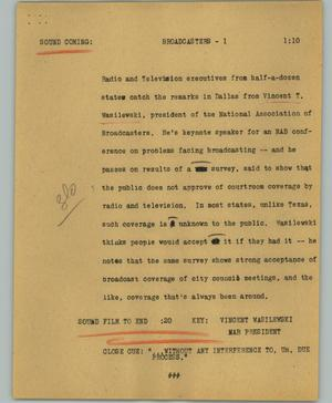 Primary view of object titled '[News Script: Broadcasters]'.