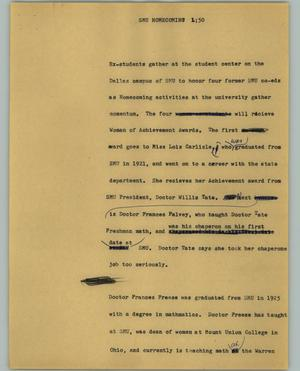 Primary view of object titled '[News Script: SMU homecomings]'.