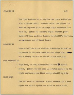 Primary view of object titled '[News Script: Swearing in]'.