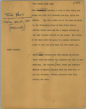 Primary view of object titled '[News Script: Fort Worth fatal fire]'.