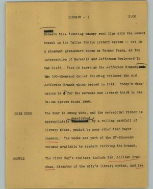Primary view of object titled '[News Script: Library]'.