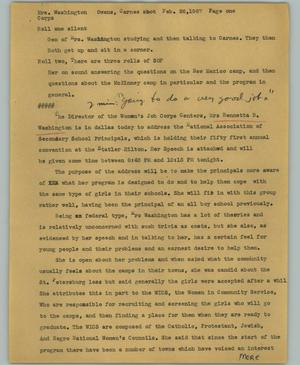 Primary view of object titled '[News Script: Mrs. Washington]'.