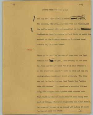 Primary view of object titled '[News Script: Jaycee Tree]'.