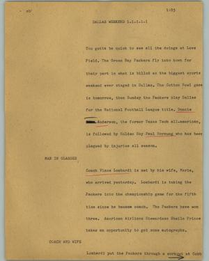 Primary view of object titled '[News Script: Dallas weekend]'.