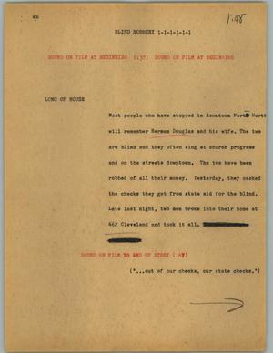 Primary view of object titled '[News Script: Blind robbery]'.