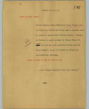 Primary view of object titled '[News Script: Bunche]'.