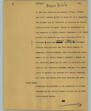 Primary view of object titled '[News Script: Danforth]'.