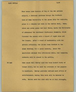 Primary view of object titled '[News Script: Blue Devils]'.