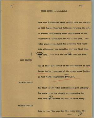 Primary view of object titled '[News Script: Rodeo opens]'.