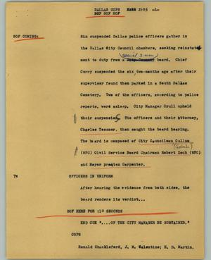 Primary view of object titled '[News Script: Dallas cops]'.