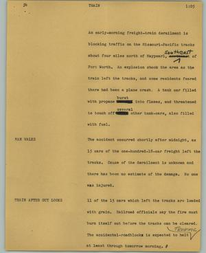 Primary view of object titled '[News Script: Train]'.