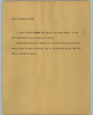 Primary view of object titled '[News Script: Texas university queen]'.