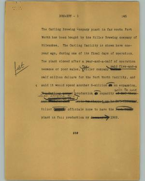Primary view of object titled '[News Script: Brewery]'.