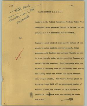 Primary view of object titled '[News Script: Walter Reuther]'.