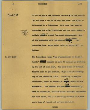 Primary view of object titled '[News Script: Franchise]'.