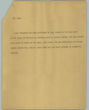 Primary view of object titled '[News Script: Ft. Hood]'.
