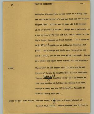 Primary view of object titled '[News Script: Traffic accidents]'.