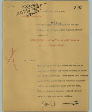 Primary view of object titled '[News Script: Airport bill]'.
