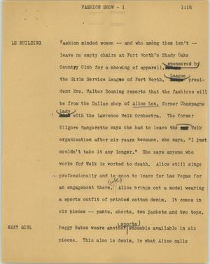 Primary view of object titled '[News Script: Fashion show]'.