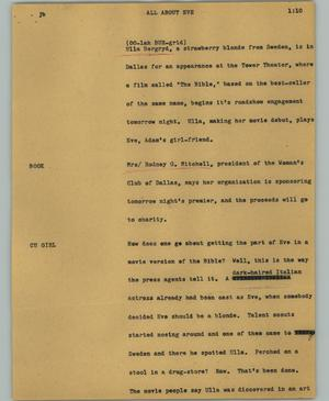 Primary view of object titled '[News Script: All about Eve]'.