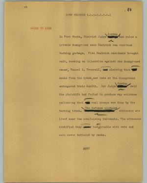 Primary view of object titled '[News Script: Dump grounds]'.