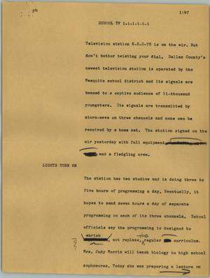 Primary view of object titled '[News Script: School TV]'.