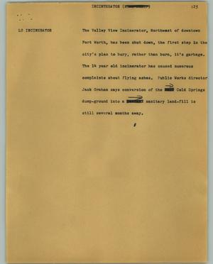 Primary view of object titled '[News Script: Incinerator]'.