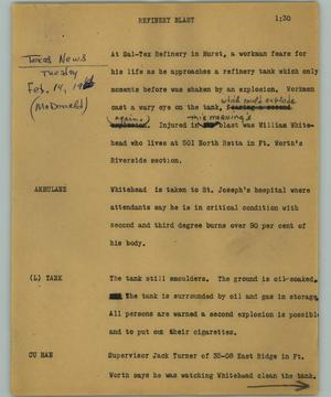 Primary view of object titled '[News Script: Refinery blast]'.