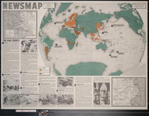 Primary view of object titled 'Newsmap. Monday, February 22, 1943 : week of February 12 to February 19, 180th week of the war, 62nd week of U.S. participation'.