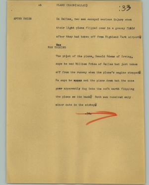 Primary view of object titled '[News Script: Plane crash (Dallas)]'.