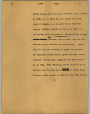 Primary view of object titled '[News Script: Queen]'.