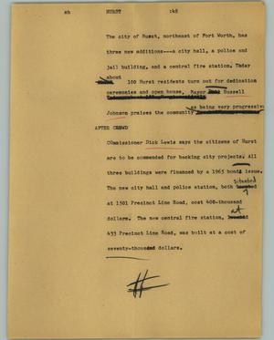 Primary view of object titled '[News Script: Hurst]'.