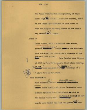 Primary view of object titled '[News Script: SDX]'.