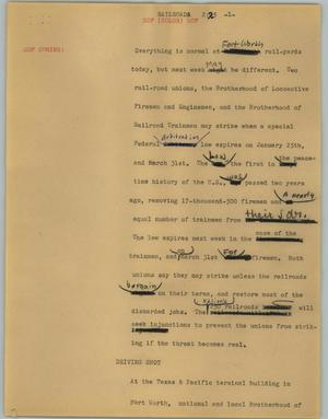 Primary view of object titled '[News Script: Railroad]'.