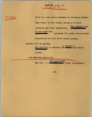 Primary view of object titled '[News Script: Computer]'.
