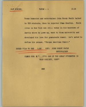 Primary view of object titled '[News Script: Faulk]'.