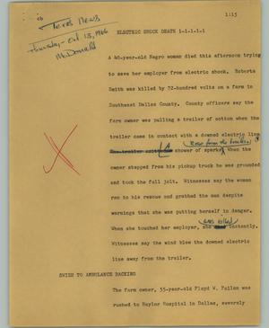Primary view of object titled '[News Script: Electric shock death]'.