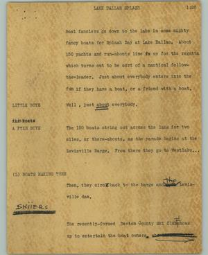 Primary view of object titled '[News Script: Lake Dallas splash]'.