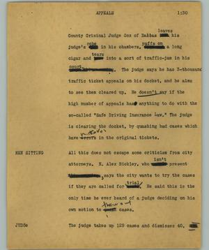 Primary view of object titled '[News Script: Appeals]'.