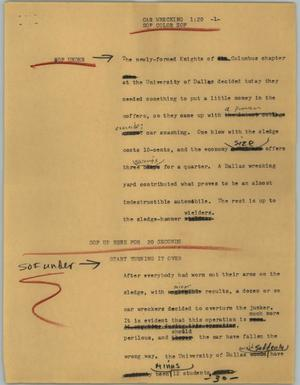 Primary view of object titled '[News Script: Car wrecking]'.