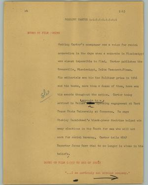 Primary view of object titled '[News Script: Hodding Carter]'.