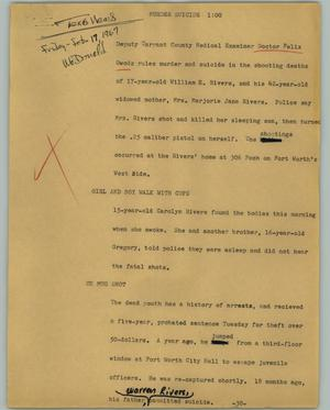 Primary view of object titled '[News Script: Murder suicide]'.
