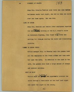 Primary view of object titled '[News Script: Robbery at Grants]'.