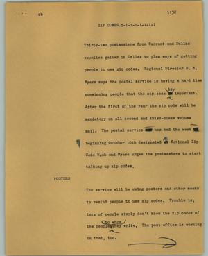 Primary view of object titled '[News Script: Zip codes]'.